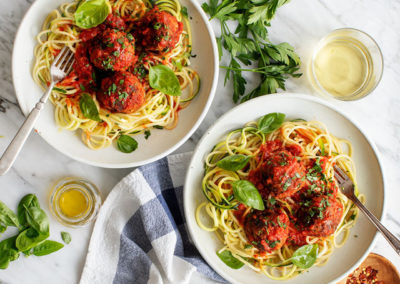 Plant-Based Meatballs With Zoodles