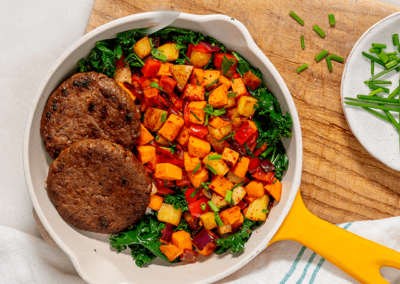 Plant-Based Breakfast Patty and Sweet Potato Hash