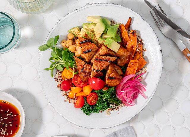 Sesame Ginger Tempeh Power Bowl with Quinoa and Sweet Potatoes