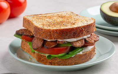 Smoky Tempeh Club Sandwich with Lemon Mayo