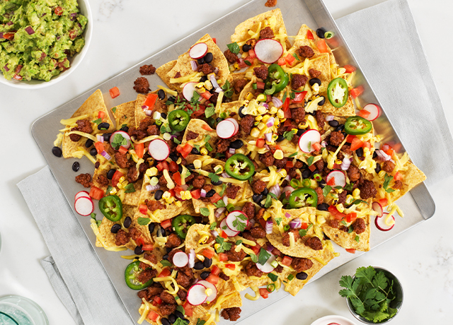 Ultimate Nachos with Corn and Black Bean Salsa and Guacamole