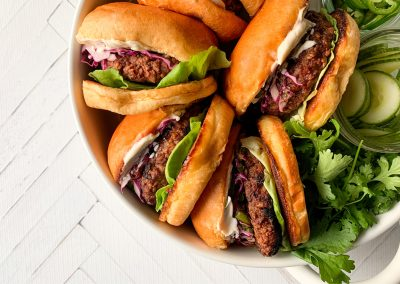 Plant-Based Burger with Chile Lime Avocado Slaw