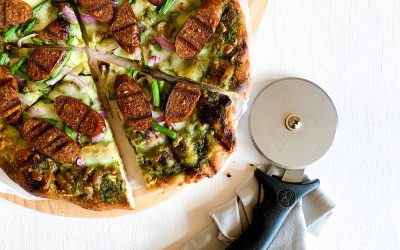 Grilled Lightlife Plant-Based Italian Sausage and Pesto Pizza