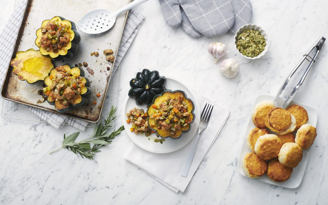 Italian Sausage and Biscuit Stuffing with Roasted Squash