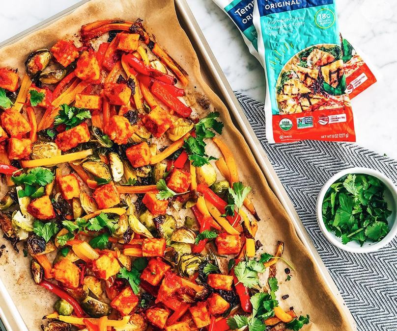Harissa sheet Pan Tempeh